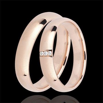 Coppia di Fedi Nuziali Reale 3 diamanti : gioielli Edenly