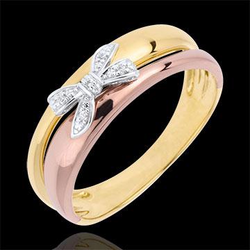 anello fiocco in tre ori